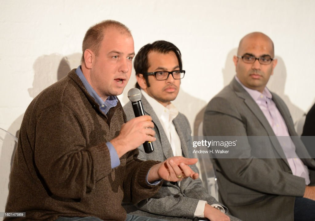 Panelist Frank Eliason, Shafqat Islam, Nilay Gandhi, and Eric Korsh attend 'Visual Conversation: Being @ The Center of Social' hosted by Getty Images during Social Media Week 2013 at Openhouse Gallery on February 19, 2013 in New York City.