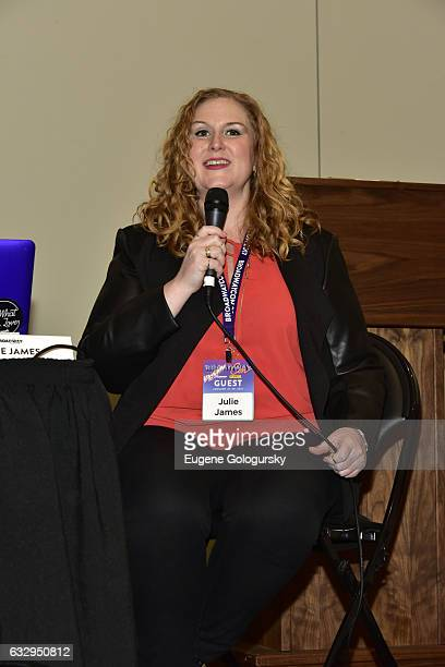 Panelist Julie James speaks at BroadwayCon 2017 at The Jacob K Javits Convention Center on January 28 2017 in New York City