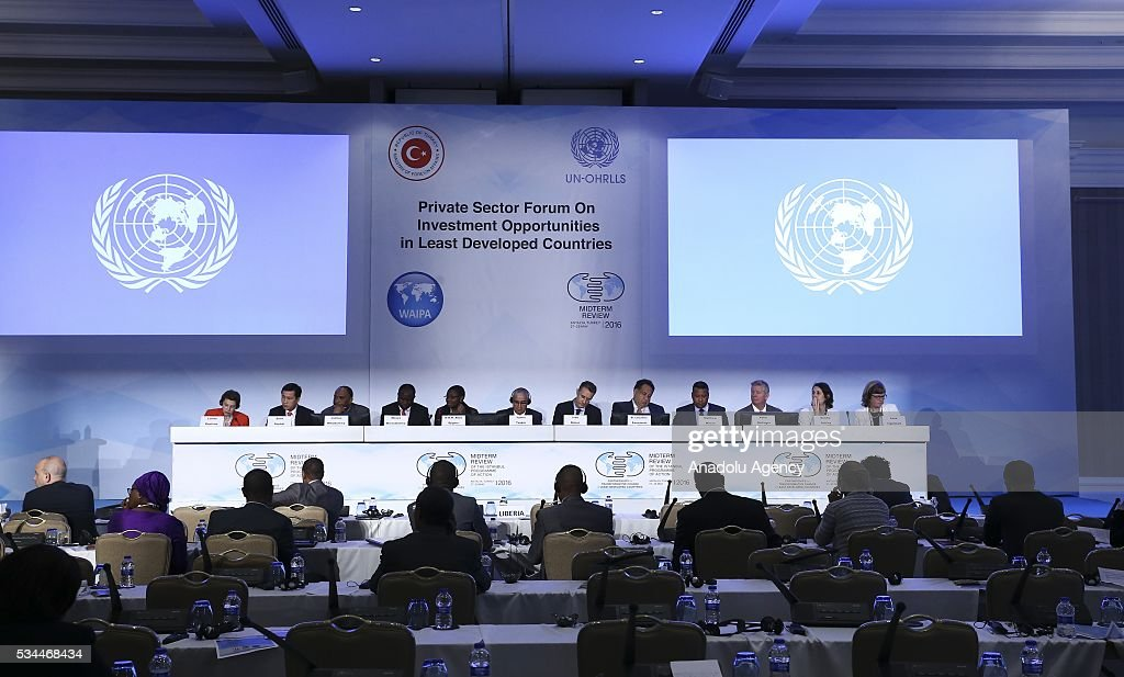 Panelists attend the Midterm Review of the Istanbul Programme of Action at the Titanic Hotel in Antalya, Turkey on May 26, 2016. The Midterm Review conference for the Istanbul Programme of Action for the Least Developed Countries will take place in Antalya, Turkey from 27-29 May 2016. The conference will undertake a comprehensive review of the implementation of the Istanbul Programme of Action by the least developed countries (LDCs) and their development partners and likewise reaffirm the global commitment to address the special needs of the LDCs.