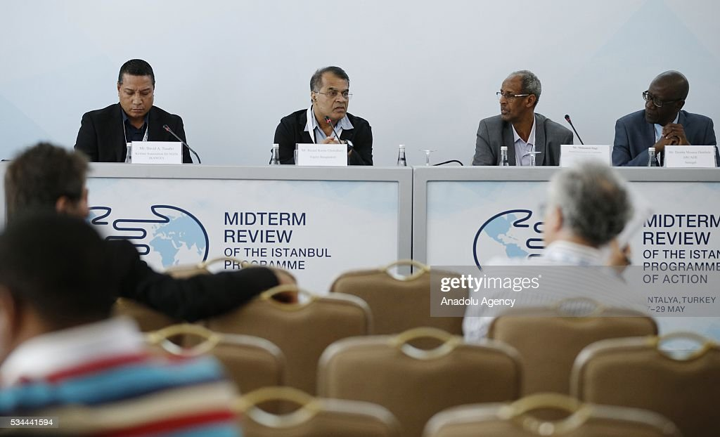 Panelists attends Midterm Review of the Istanbul Programme of Action at the Titanic Hotel in Antalya, Turkey on May 26, 2016. The Midterm Review conference for the Istanbul Programme of Action for the Least Developed Countries will take place in Antalya, Turkey from 27-29 May 2016. The conference will undertake a comprehensive review of the implementation of the Istanbul Programme of Action by the least developed countries (LDCs) and their development partners and likewise reaffirm the global commitment to address the special needs of the LDCs.