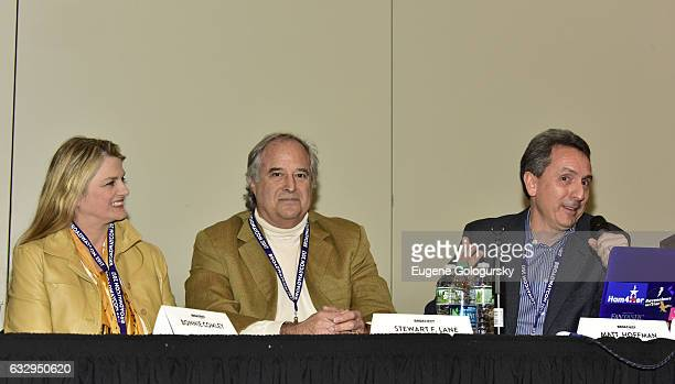 Panelists Bonnie Comley Stewart F Lane and Matt Hoffman speak at BroadwayCon 2017 at The Jacob K Javits Convention Center on January 28 2017 in New...