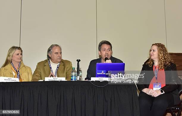 Panelists Bonnie Comley Stewart F Lane Matt Hoffman and Julie James speak at BroadwayCon 2017 at The Jacob K Javits Convention Center on January 28...
