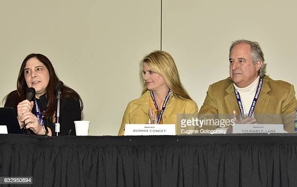 Panelists Dori Berinstein Bonnie Comley and Stewart F Lane speak at BroadwayCon 2017 at The Jacob K Javits Convention Center on January 28 2017 in...