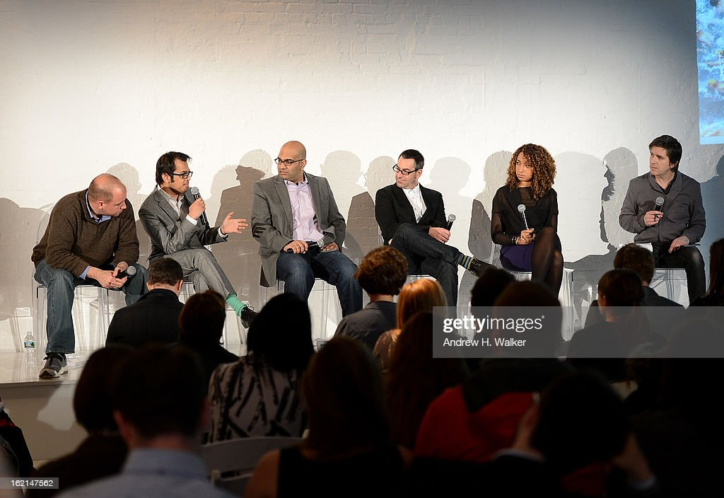 Panelists Frank Eliason, Shafqat Islam, Nilay Gandhi, Eric Korsh, Katrina Craigwell and moderator/author Mark Borden attend 'Visual Conversation: Being @ The Center of Social' hosted by Getty Images during Social Media Week 2013 at Openhouse Gallery on February 19, 2013 in New York City.