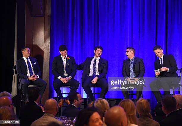 Panelists Frank Lugo Matt Pelak Brandon Stanton Gerard Ilaria and Seth Meyers speak on stage during Headstrong Project Words Of War Gala at Pier 60...