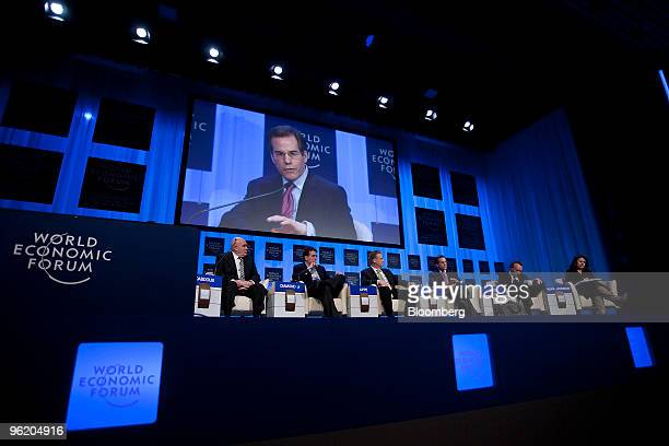 Panelists from left Ibrahim S Dabdoub chief executive officer of the National Bank of Kuwait Robert 'Bob' Diamond president of Barclays Plc Stefan...