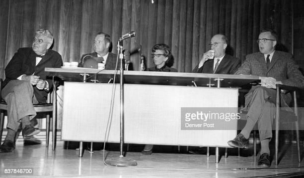 Panelists in photo above are from left John Jameson editor of the Englewood Herald Jim Bennett of station KLZ Mrs Robert Ziler League of Women Voters...