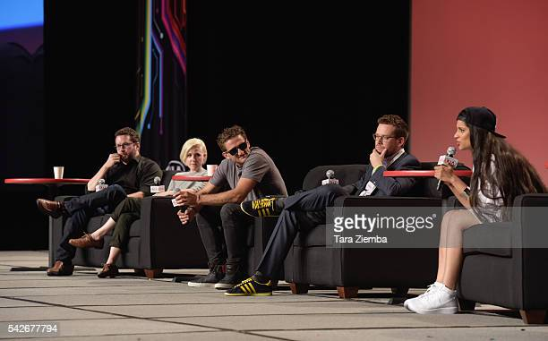 Panelists Lilly Singh John Green Casey Neistat Hannah Hart and William Haynes speak at the 7th Annual VidCon at Anaheim Convention Center on June 22...