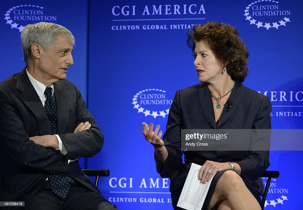 Panelists, <a gi-track='captionPersonalityLinkClicked' href=/galleries/search?phrase=Robert+Rubin&family=editorial&specificpeople=209190 ng-click='$event.stopPropagation()'>Robert Rubin</a>, left, Co-Chairman, Council of Foreign Relations, former Secretary of the Treasury, and Jacqueline Hinman, President and CEO, CH2M Hill, have a discussion hosted by Bloomberg TV entitled, A New Competitive Era: America in the World, during the Clinton Global Initiative America at the Sheridan Downtown Denver, Wednesday morning, June 25, 2014.