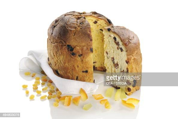 Panettone sweet bread loaf with raisins and candied fruit Lombardy Italy