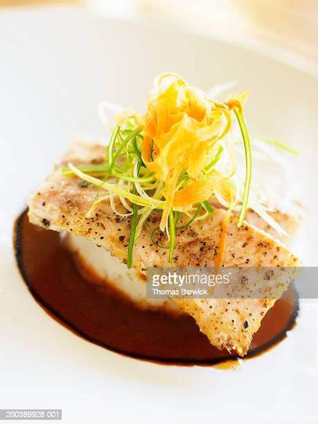 Pan-fried strawberry grouper with horseradish mashed potatoes