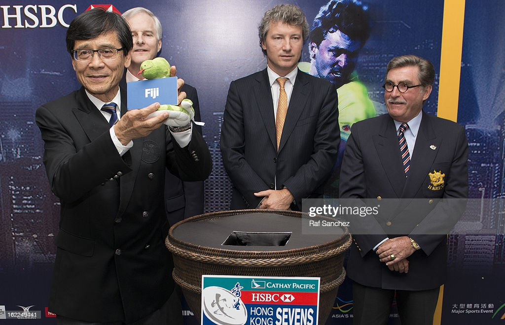 Pang Chung, Honorary Secretary General of the Sports Federation & Olympic Committee of Hong Kong China selects a team during the Cathay Pacific/HSBC Hong Kong Sevens 2013 Official Draw held at Hysan Place, on February 21, 2013 in Hong Kong.