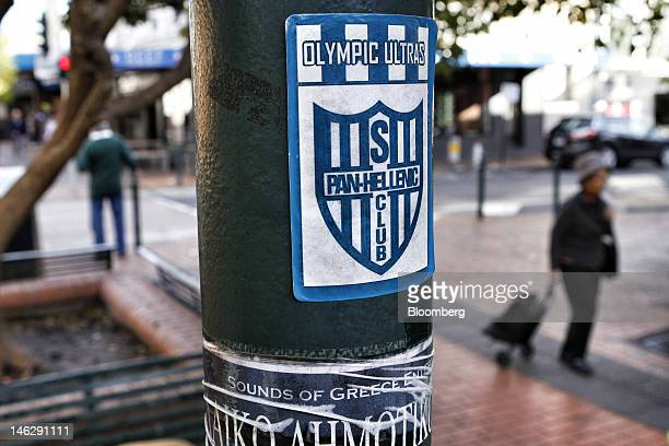 A PanHellenic Soccer Club sign is displayed in Oakleigh a suburb of Melbourne Australia on Tuesday June 12 2012 Armed with patriotism and the...