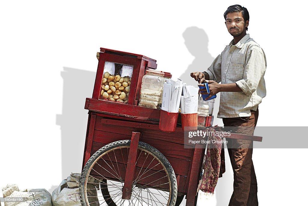 A pani puri vendor in Kathmandu Nepal