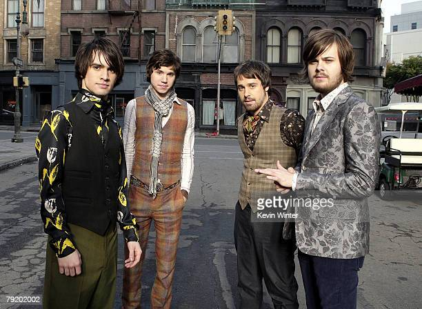 Panic at the Disco Brendon Urie Ryan Ross Jon Walker and Spencer Smith film a music video for their new single 'Nine in the Afternoon' on December 20...