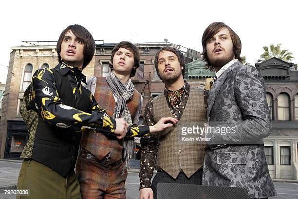 Panic at the Disco Brendon Urie Ryan Ross Jon Walker and Spencer Smith film a music video for their new single 'Nine in the Afternoon' on December 21...