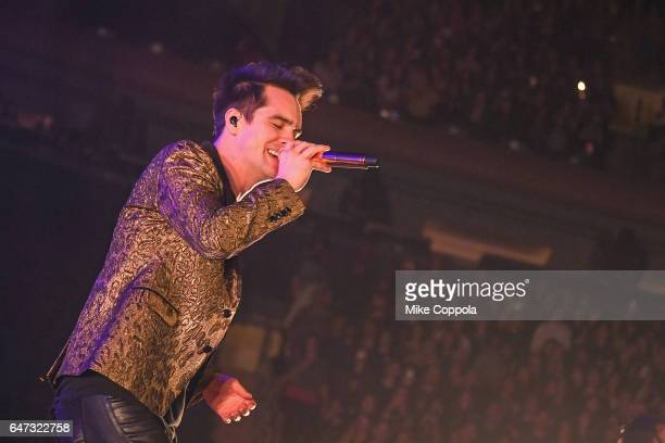 Panic at the Disco singer Brendon Urie performs at Madison Square Garden on March 2 2017 in New York City