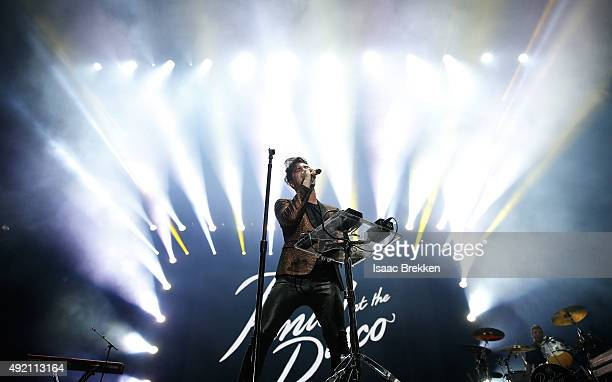 Panic at the Disco singer Brendon Urie performs during the 10th annual Wine Amplified festival at the Las Vegas Village on October 9 2015 in Las...