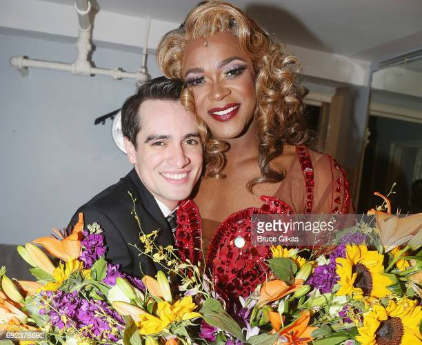 'Panic at The Disco's' Brendon Urie as 'Charlie Price' and J Harrison Ghee as 'Lola' pose backstage as Urie makes his broadway debut in 'Kinky Boots'...