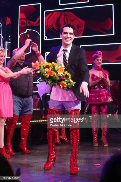 'Panic at The Disco's Brendon Urie makes his broadway debut as 'Charlie Price' in 'Kinky Boots' at The Al Hirschfeld Theatre on June 4 2017 in New...