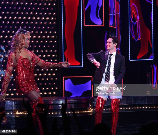 'Panic at The Disco's Brendon Urie makes his broadway debut as 'Charlie Price' in 'Kinky Boots' with J Harrison Ghee at The Al Hirschfeld Theatre on...