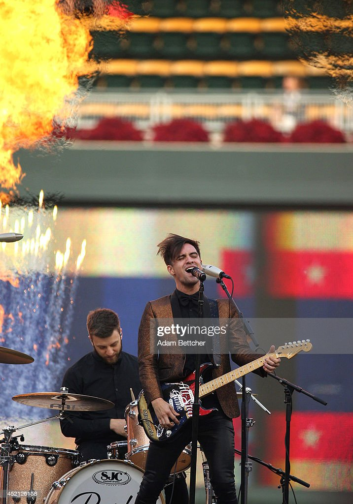 Panic at the Disco's lead singer <a gi-track='captionPersonalityLinkClicked' href=/galleries/search?phrase=Brendon+Urie&family=editorial&specificpeople=542276 ng-click='$event.stopPropagation()'>Brendon Urie</a> performs before the 2014 MLB All-Star legends and celebrity softball game on July 13, 2014 at the Target Field in Minneapolis, Minnesota.