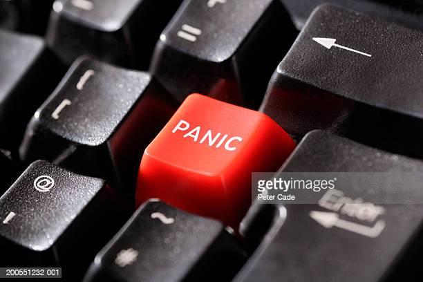 Panic on keyboard, close-up