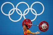 Panida Khansri of Thailand competes in the Women's 48kg Group A weightlifting on Day 1 of the London 2012 Olympic Games at ExCeL on July 28 2012 in...