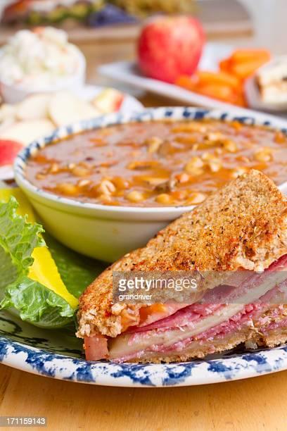 Panini Sandwich and Soup