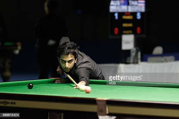 Pankaj Advani of India plays a shot against Robert Milkins of England in Group C match on day 3 of the Six Red World Championship 2016 at Fashion...