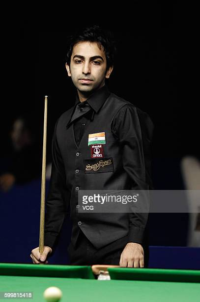 Pankaj Advani of India reacts in Group C match against Robert Milkins of England on day 3 of the Six Red World Championship 2016 at Fashion Island on...