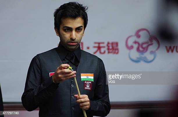Pankaj Advani of India reacts in the match against China A on day one of Snooker World Cup 2015 at Wuxi Stadium on June 15 2015 in Wuxi China