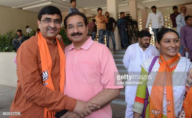 Pankajbhai Modi real brother of Indian Prime Minister Narendra Modi and Bharatbhai Pandya Gujarat Bhartiya Janta Party spokesperson pose as they...