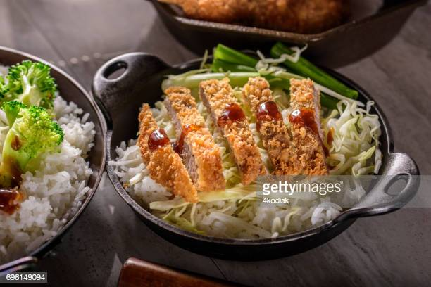 パン粉痂皮カリカリ ポーク カツレツ蒸しご飯
