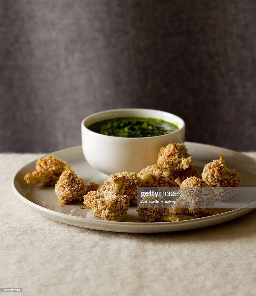 Panko fried cauliflower with cilantro mint sauce : Stock Photo