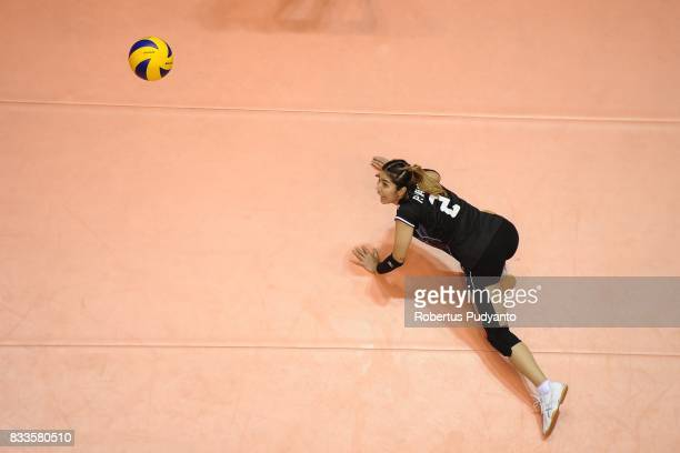 Pannoy Piyanut of Thailand falls during the 19th Asian Senior Women's Volleyball Championship 2017 Final match between Thailand and Japan at Alonte...