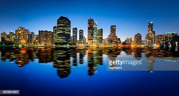 Panonama shot of Brisbane and its reflection