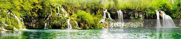 Panorama - a series of waterfalls along lake