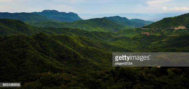 Panorama Aerial view of forrest with mountain hill and cloudy sky.