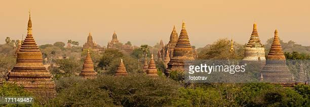 Panorama Ancient Buddhist Pagoda in Bagan, Myanmar (Burma) travel destination