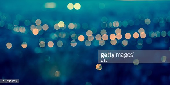 panorama city blurring lights abstract circular bokeh : Stock Photo