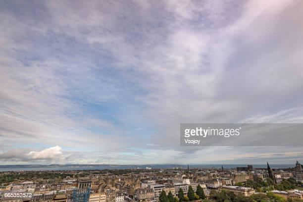 Panorama Cloudscape and City view of Edinburgh
