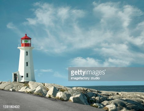 Panorama from Peggy`s Cove lighthouse : Stock Photo