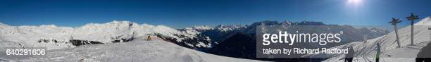 Panorama from the top of Eggalm mountain.  Mayrhofen ski resort.