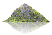 Panorama island, hill, mountain isolated on a white background. Used for graphics