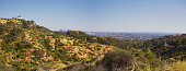 Panorama landscape of Los Angeles California with a view of the Griffith Observatory and downtown Los Angeles