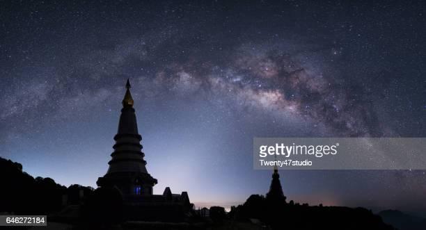 Panorama milky way over Pagoda