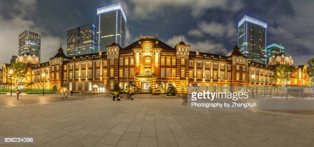 Panorama night view of Tokyo station illuminated with blue sky, Chiyoda ward, Japan at summer.
