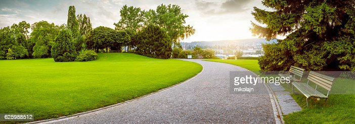 Panorama of a beautiful city park : Stock Photo