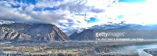 A panorama of a town near Gilgit ... from KKH (Kar